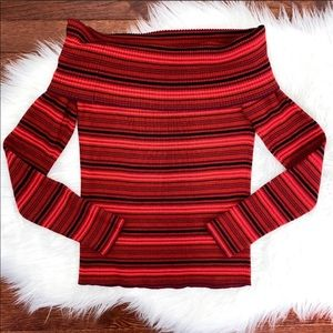 Off-the-Shoulder Red Striped Knit Sweater Sz S NWT